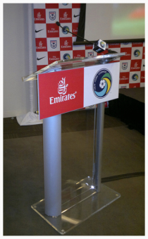 Our recent Lucite podium setup for the New York Cosmos AV presentation.