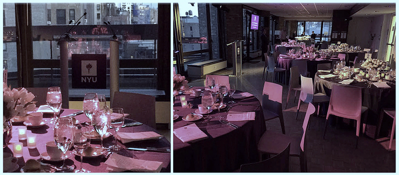 Podium rentals, stage lighting and sound, AV podium & lighting installation for a NYU complete with a 100% LED lighting