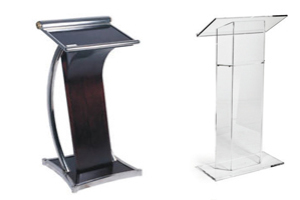 Rent Acrylic Podiums, lucite lecterns, lucite podiums for your stage set designs.