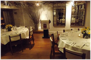 Wooden podium with PA system rental at Park Avenue Restaurant