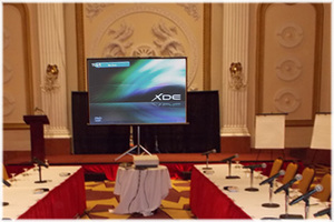 Black wooden podium for conference rental