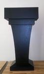 Tall Floor-Standing Lectern Podium with Knockdown Design for Mobility - Wood Speaking Lectern, Drawer and Storage Area (Black Wood Grain) for stage rentals NYC