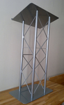 Truss Podium for Floor with Interior Shelf Aluminum and Steel - Silver, for outdoor stage rental.