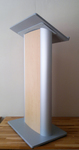 Lectern Podium, Church Pulpit, Metal, Oak and Acrylic, audio podiums for event stage rental,