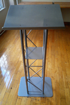 Truss Lectern for Floor, Includes Stationary Shelf, Aluminum and Silver - podium rental NYC